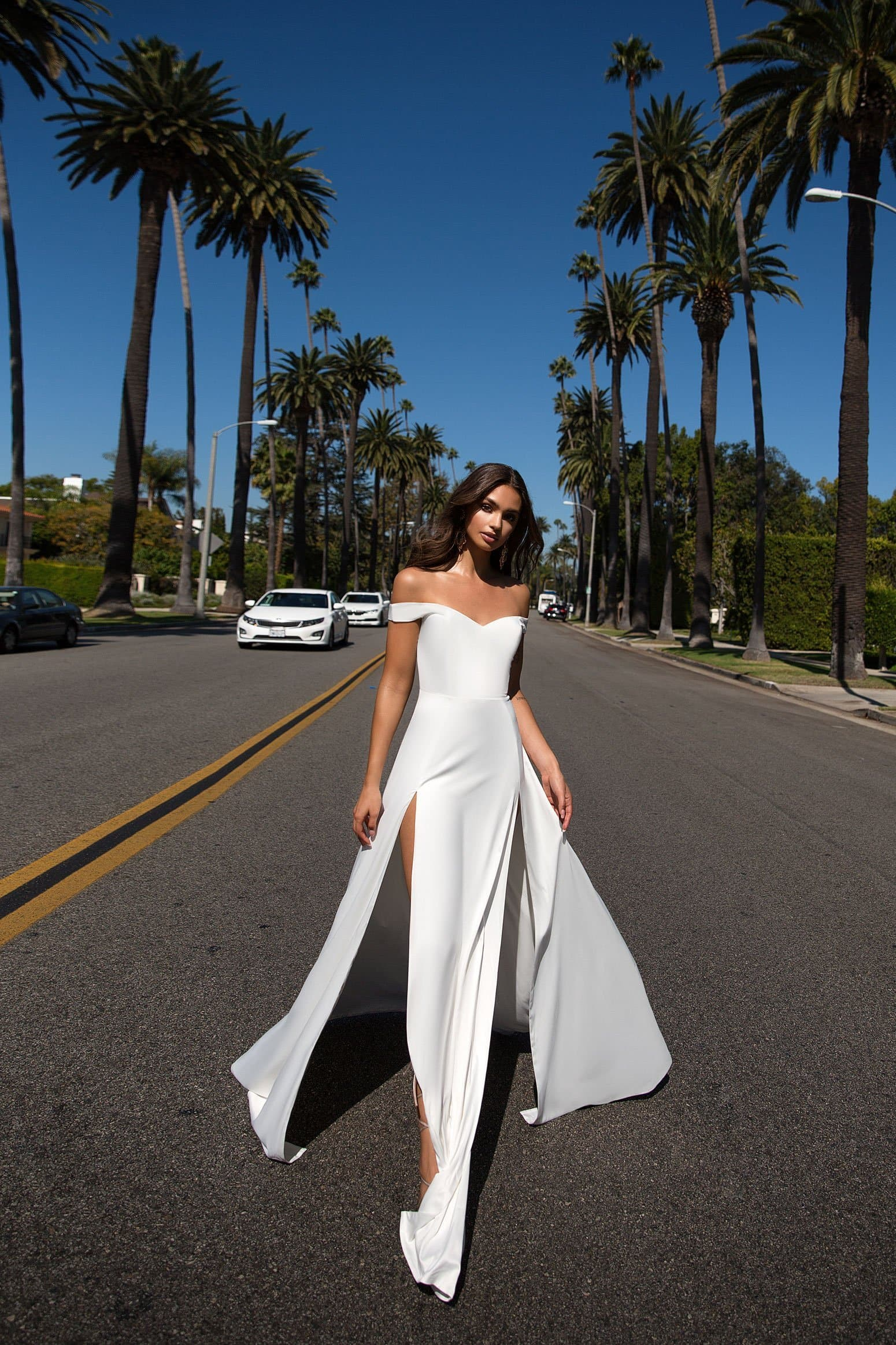 Florentina Formal Gown -White Satin Sweetheart Off Shoulder Split Gown