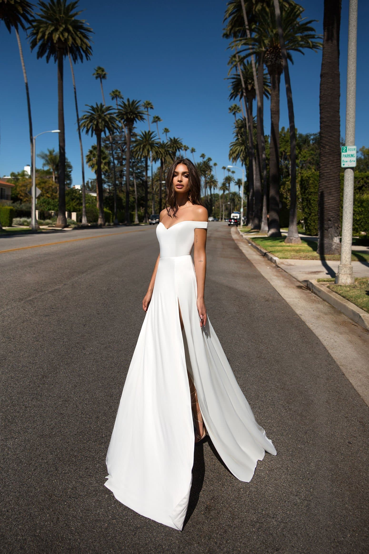 Florentina - White Satin Gown with Sweetheart Neckline & Side Slits