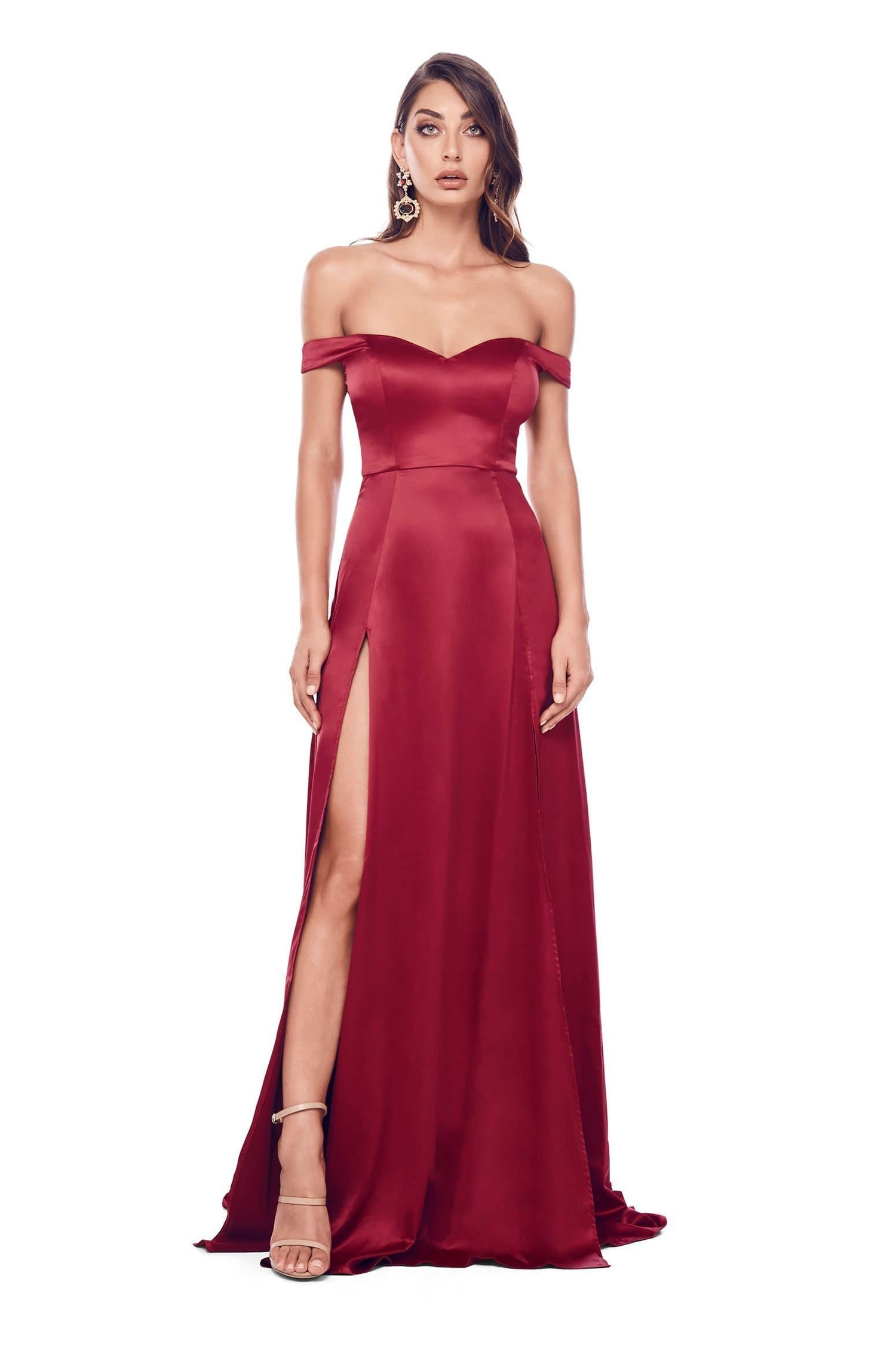 Florentina - Deep Red Satin Gown with Sweetheart Neckline & Side Slit