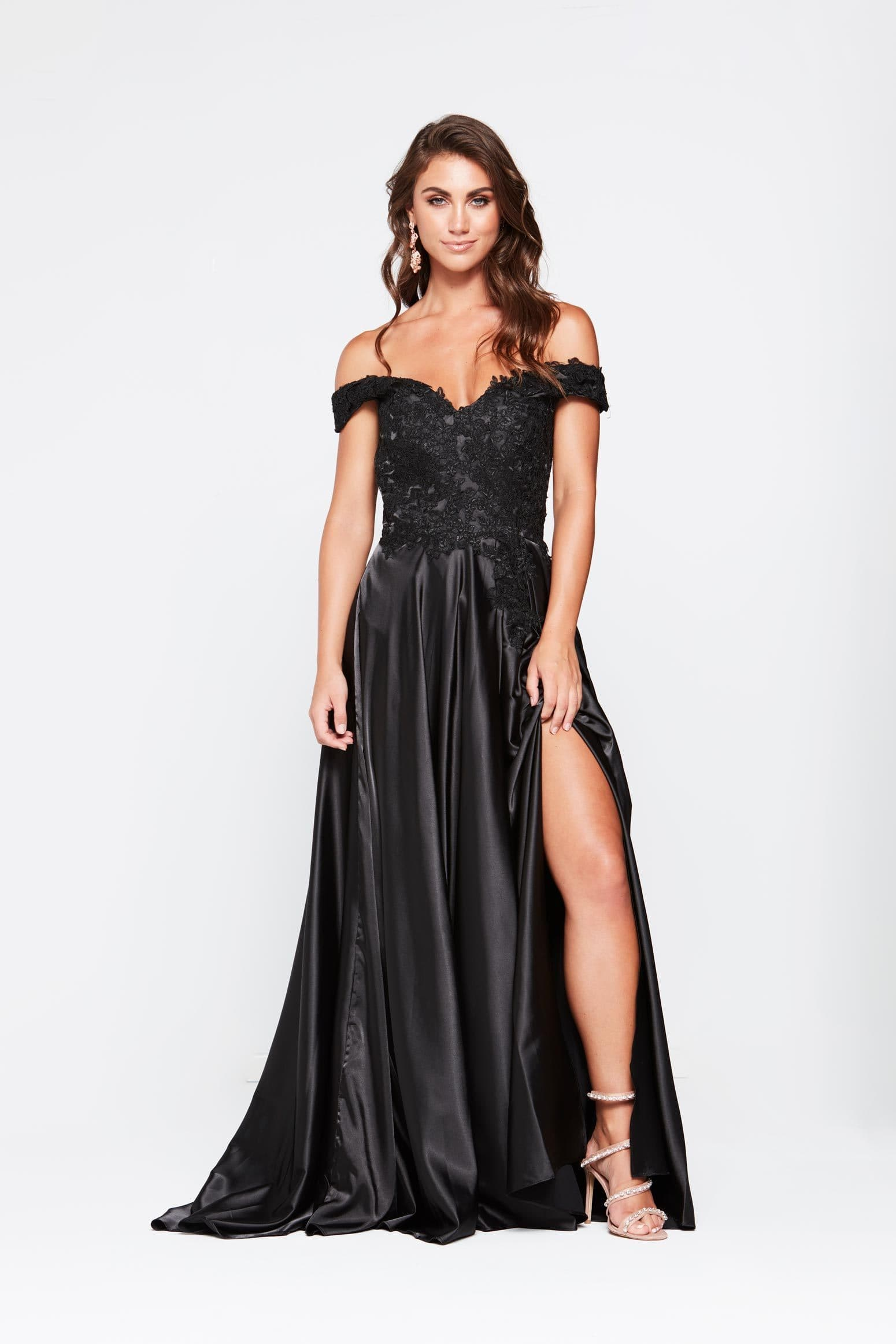A&N Freya Dress - Black Off Shoulder Lace & Satin Gown with Front Slit