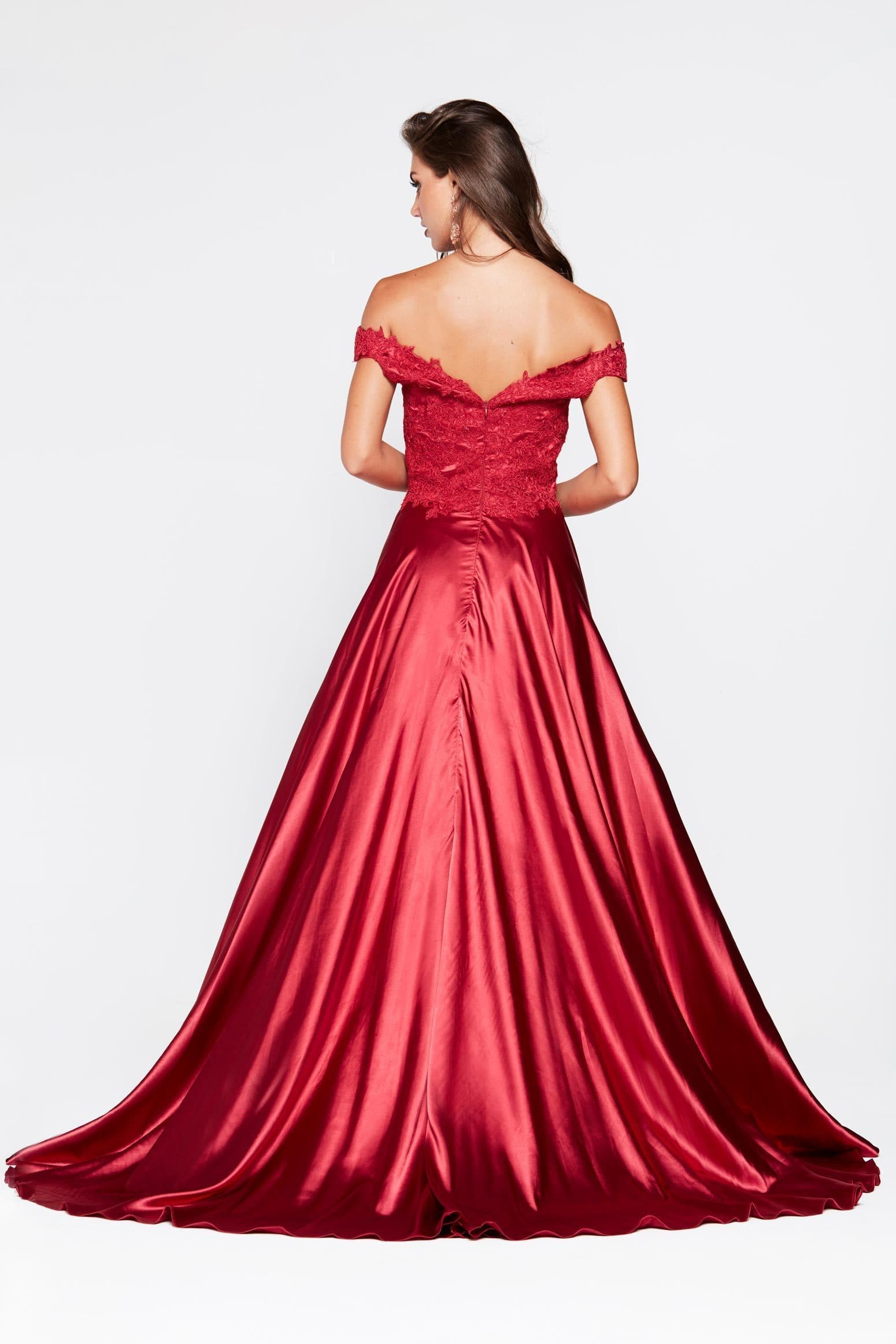 Freya Dress - Deep Red Off Shoulder Lace Satin Split Full Length Gown