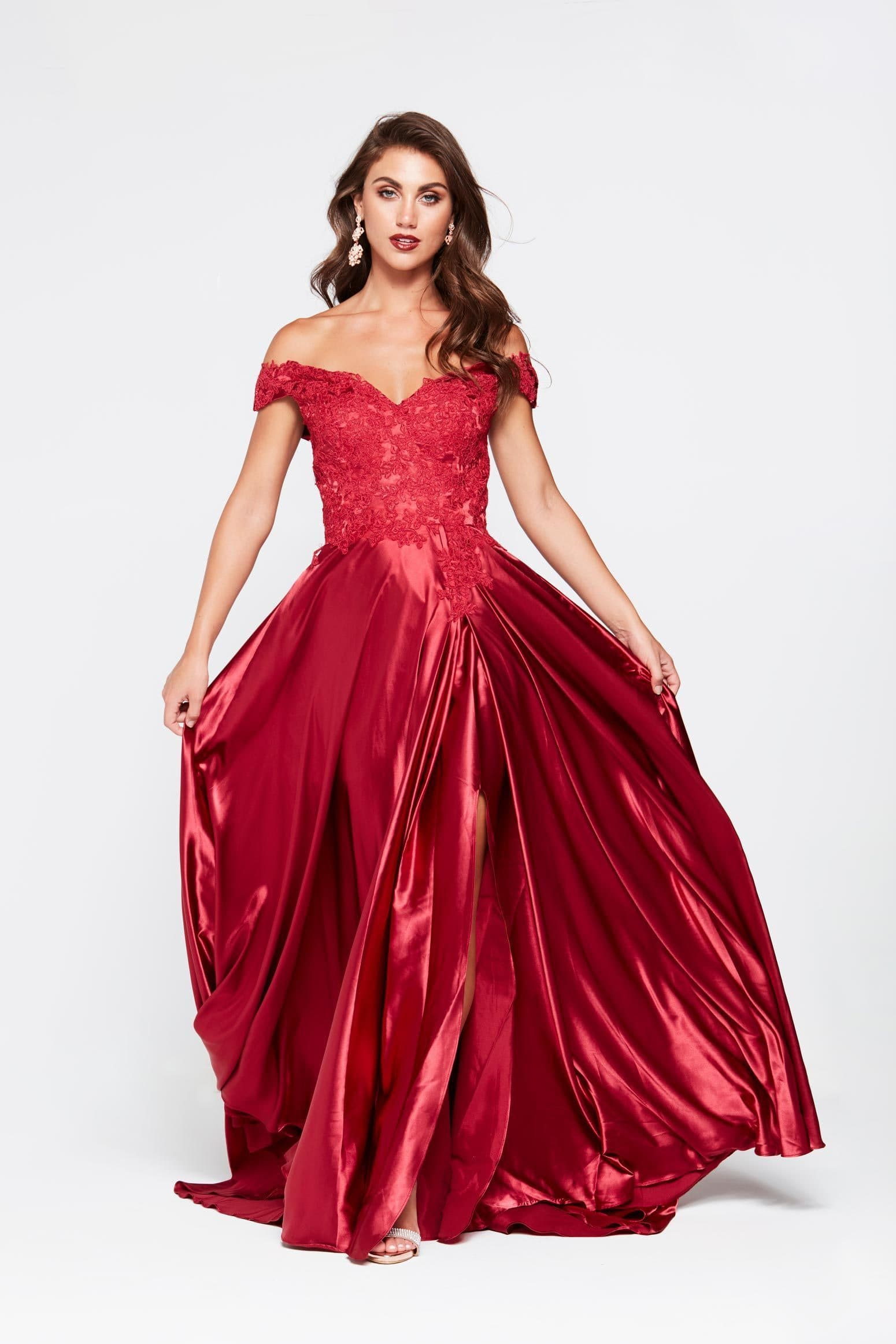 A&N Freya - Deep Red Off Shoulder Dress Made From Lace and Satin