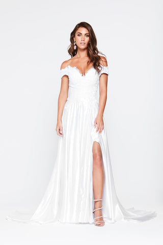 A&N Freya - White Off Shoulder Gown Made From Lace & Satin