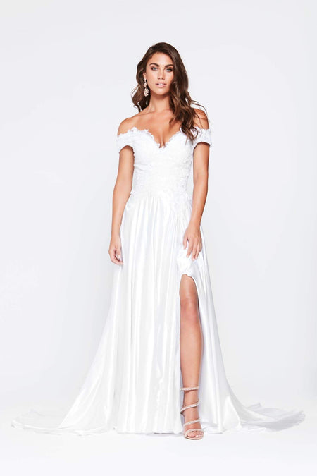 A&N Bridesmaids Selena Ponti Dress - White