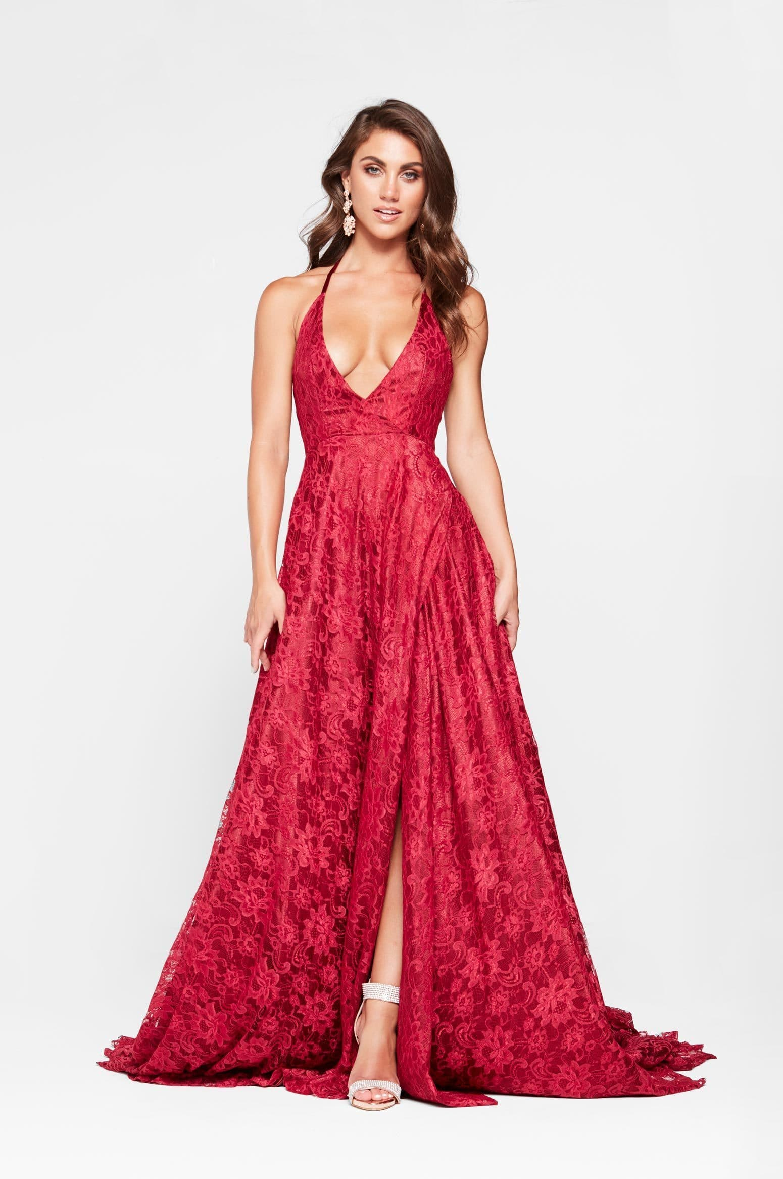 A&N Frida -Red Lace Formal Gown with Plunging Neckline and Low Back ...
