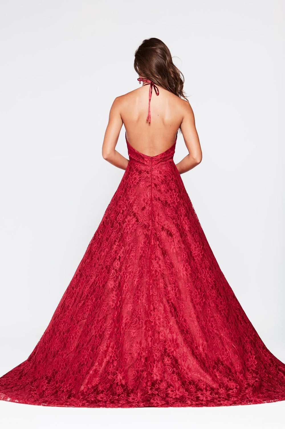 A&N Frida -Red Lace Formal Gown with Plunging Neckline and Low Back