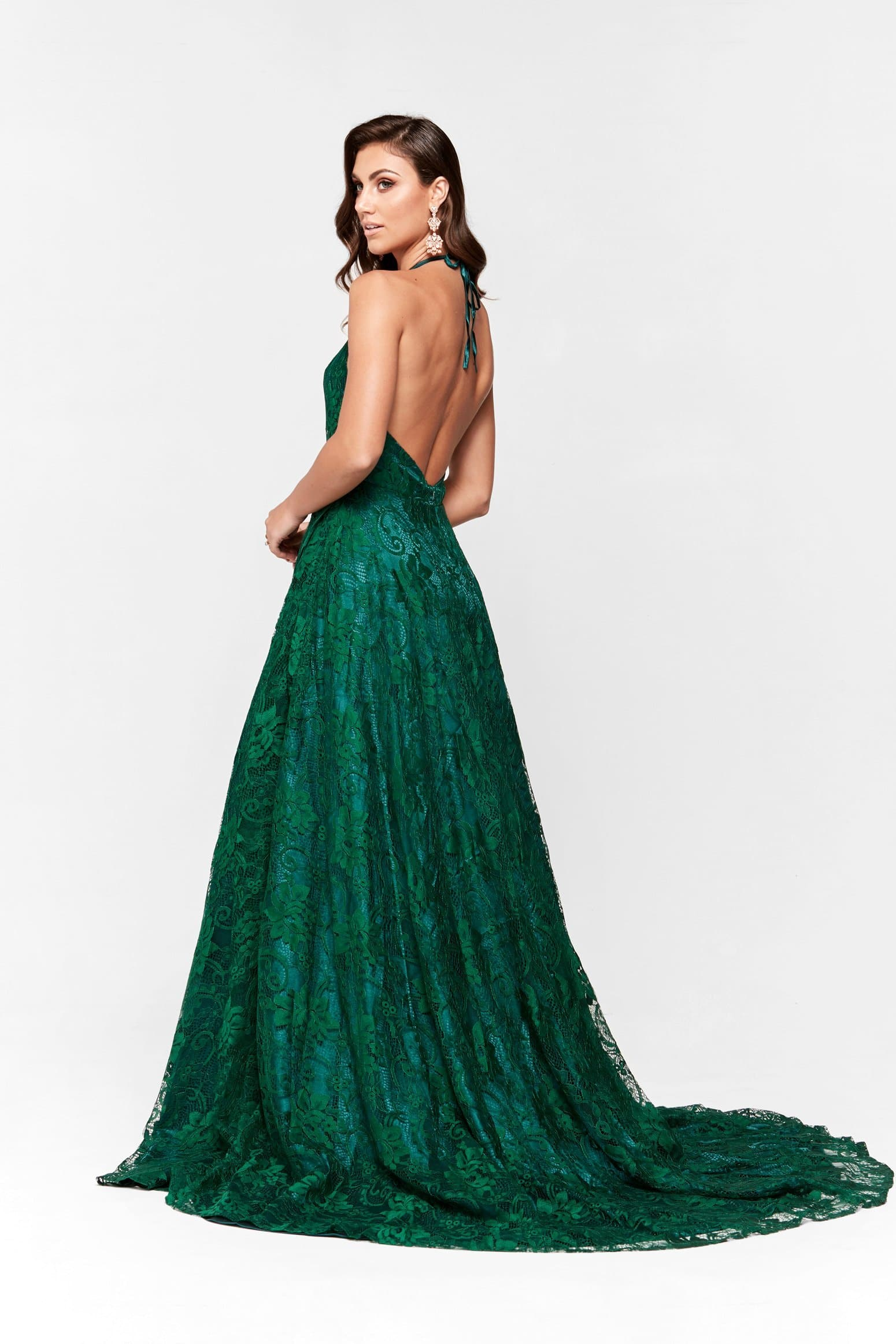 A&N Frida - Emerald Lace Gown with Plunging Neckline & Side Slit