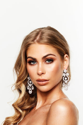 Glazori Silver Chandelier Drop Earrings with White Crystals - PRE ORDER END OF SEPTEMBER