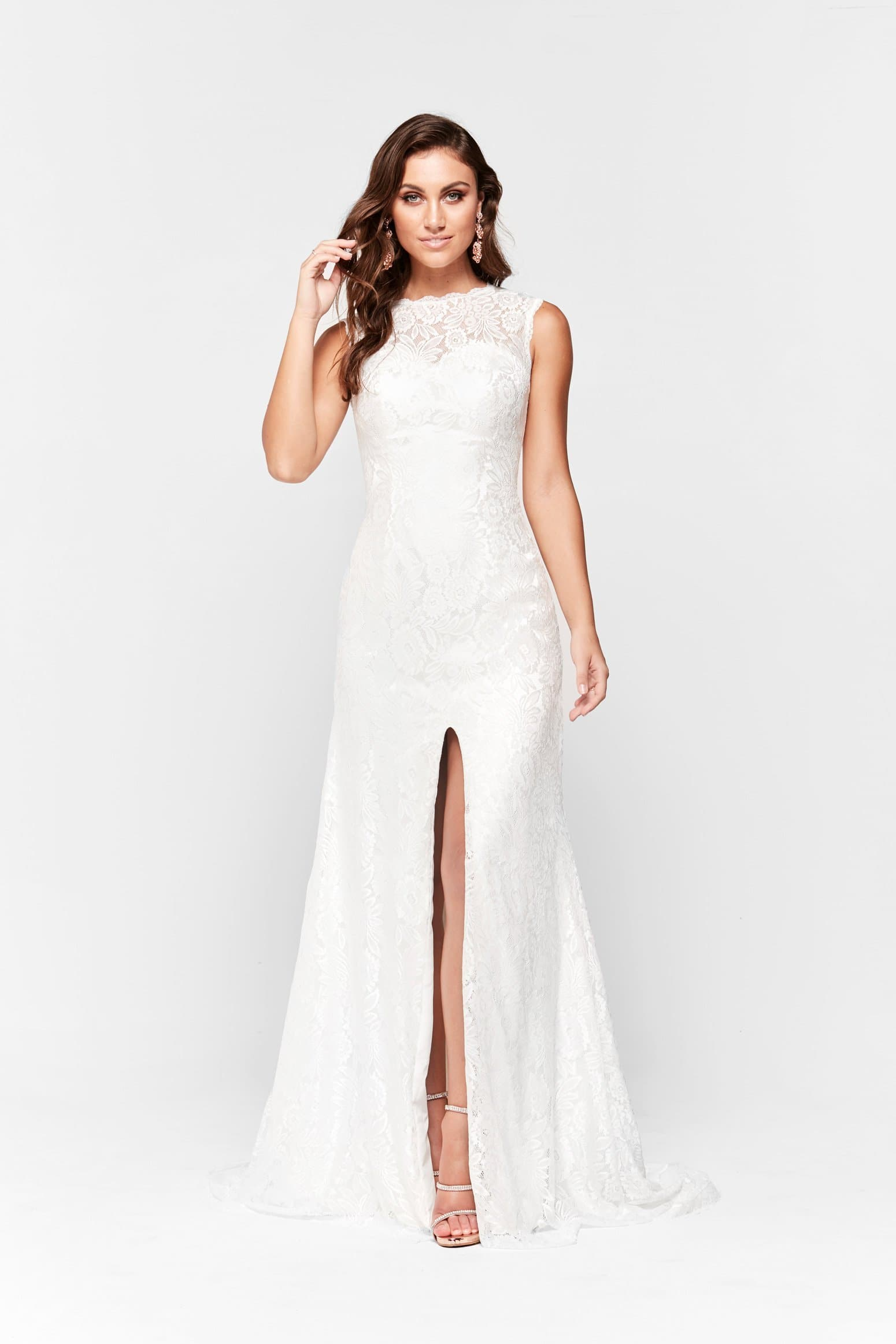 A&N Gabriella - White Lace Gown with High Neck and Leg Split