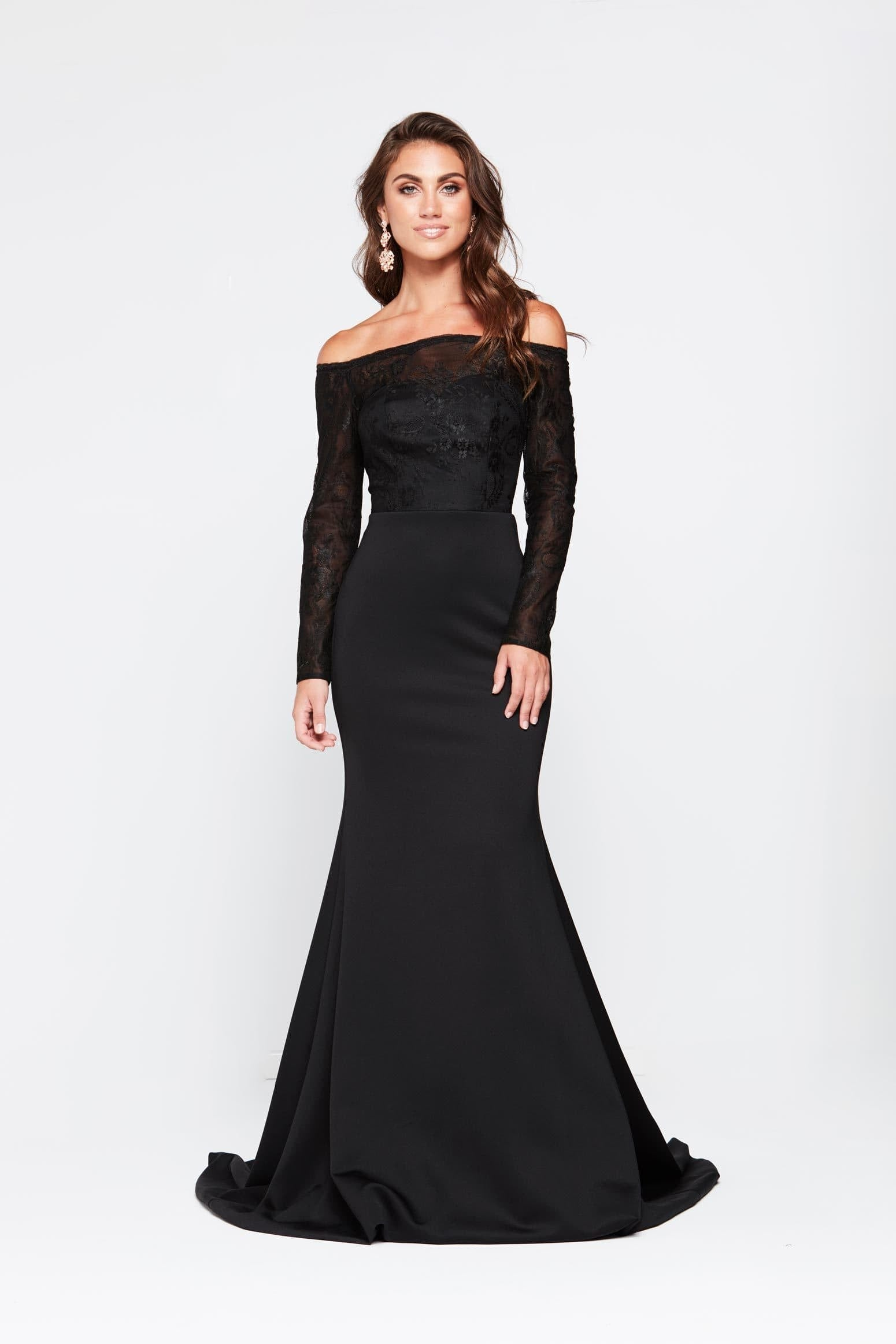 5dcc3b05215 A N Gina - Black Jersey Lace Gown with Off Shoulder Long Sleeves ...