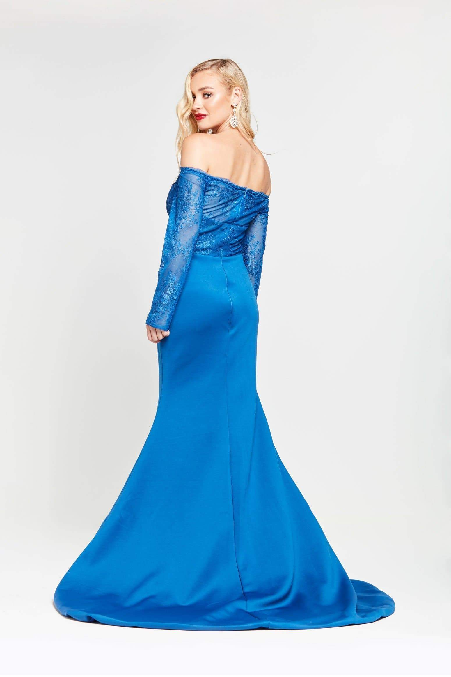 A&N Gina - Blue Jersey Lace Off Shoulder Gown with Long Sleeves