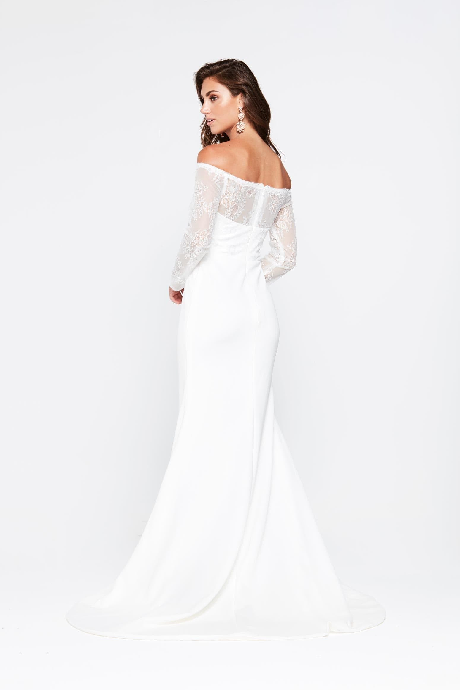48f8ba257142 ... A N Gina - White Jersey Lace Off Shoulder Gown with Long Sleeves
