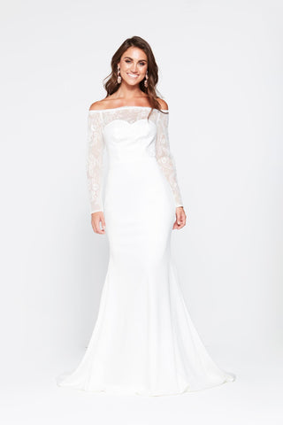 A&N Gina - White Jersey Lace Off Shoulder Gown with Long Sleeves