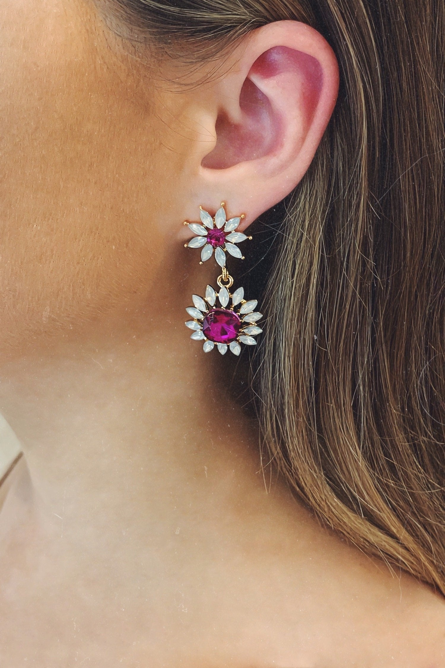 Glazori Adesina Pink Flower Earrings