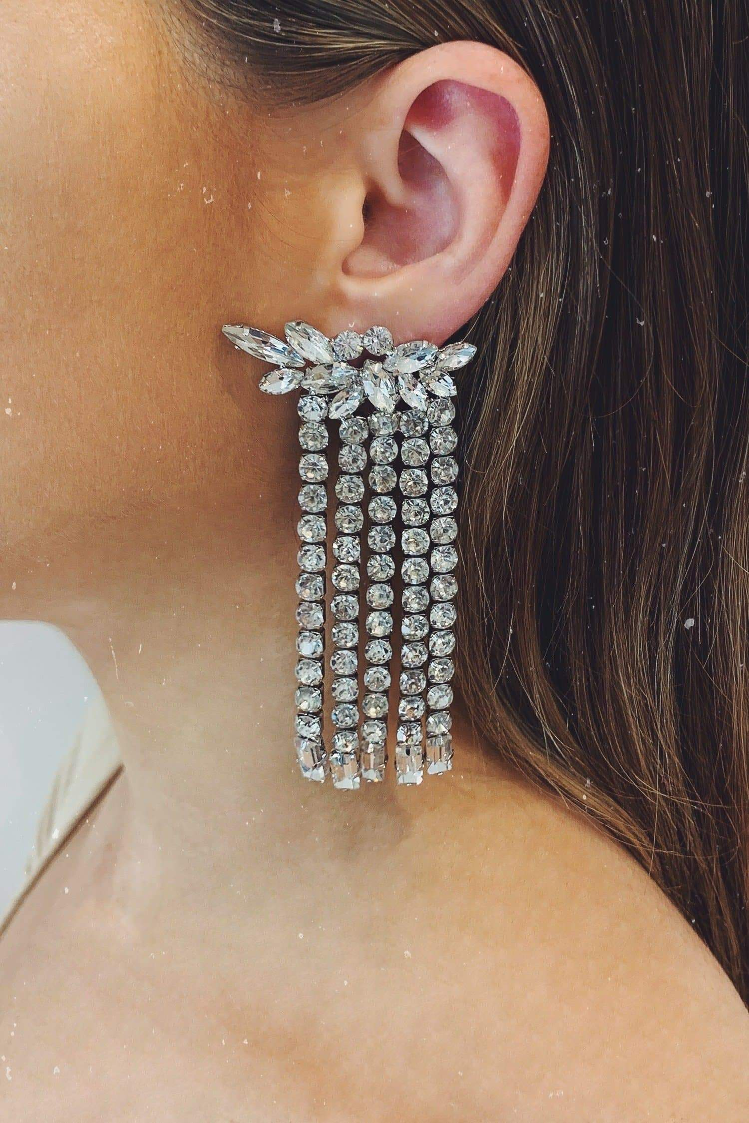 Glazori Afia Silver Crystal Drop Earrings with Stud