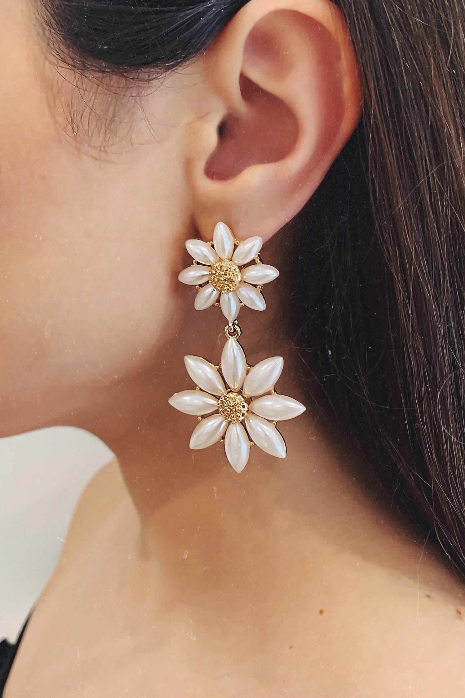 Glazori Amelia Pearl Flower Drop Earrings