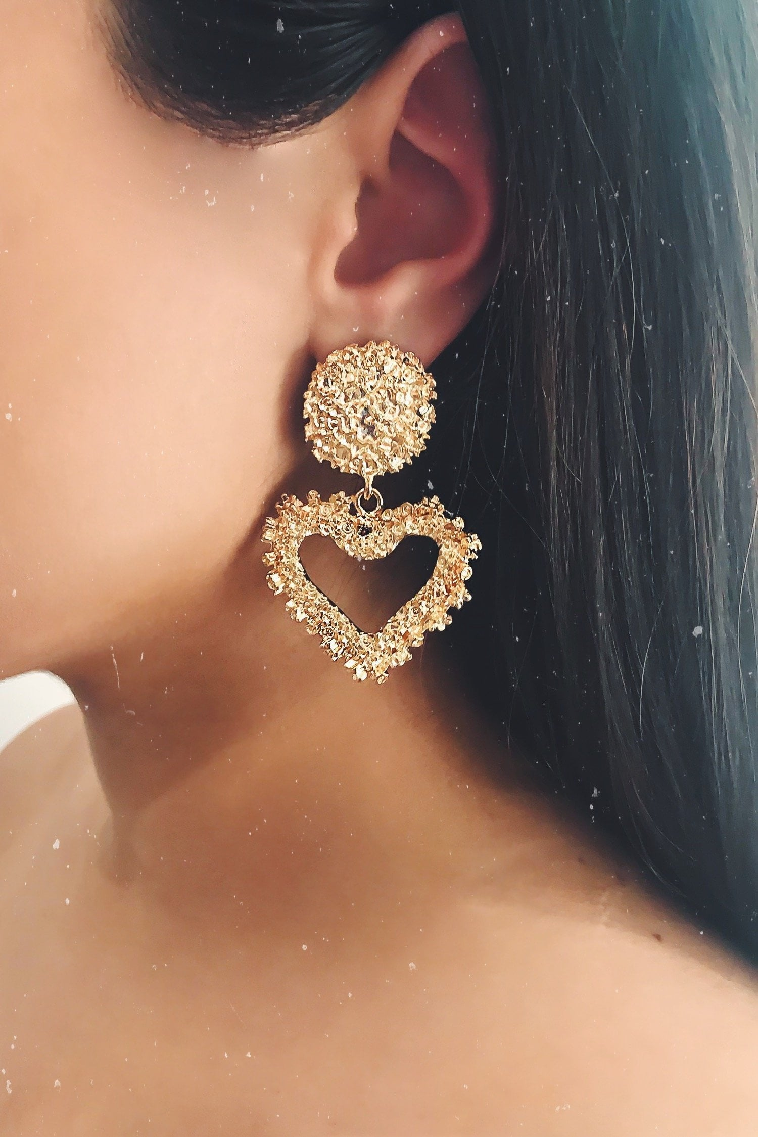 Glazori Amira Gold Textured Heart Drop Earrings