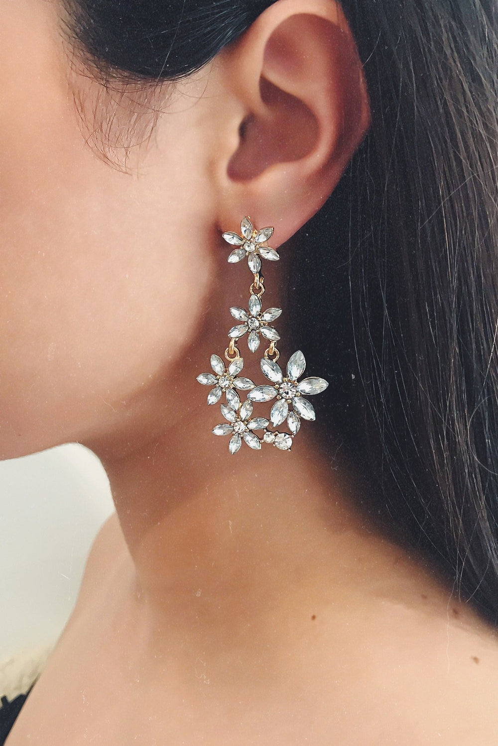 Glazori Anika Crystal Flower Drop Earrings
