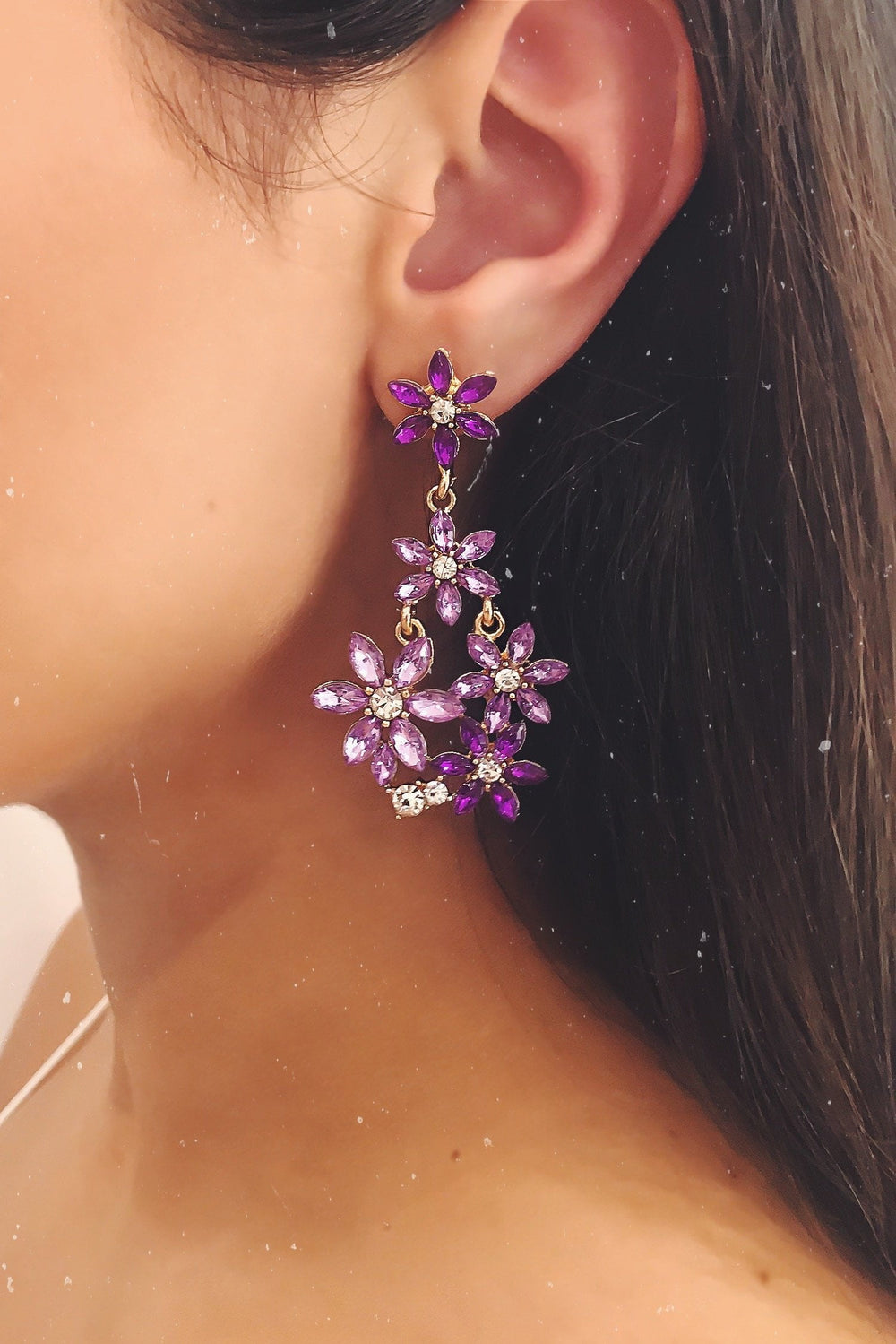 Glazori Anika Purple Crystal Flower Drop Earrings