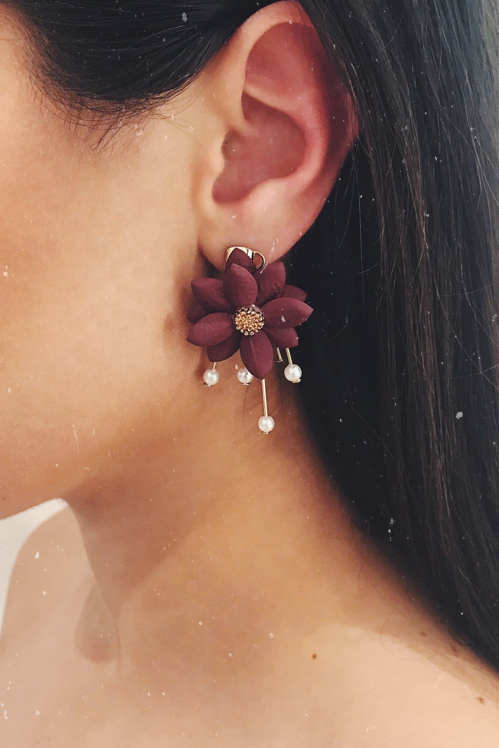 Glazori Ariana Red Flower Statement Earrings
