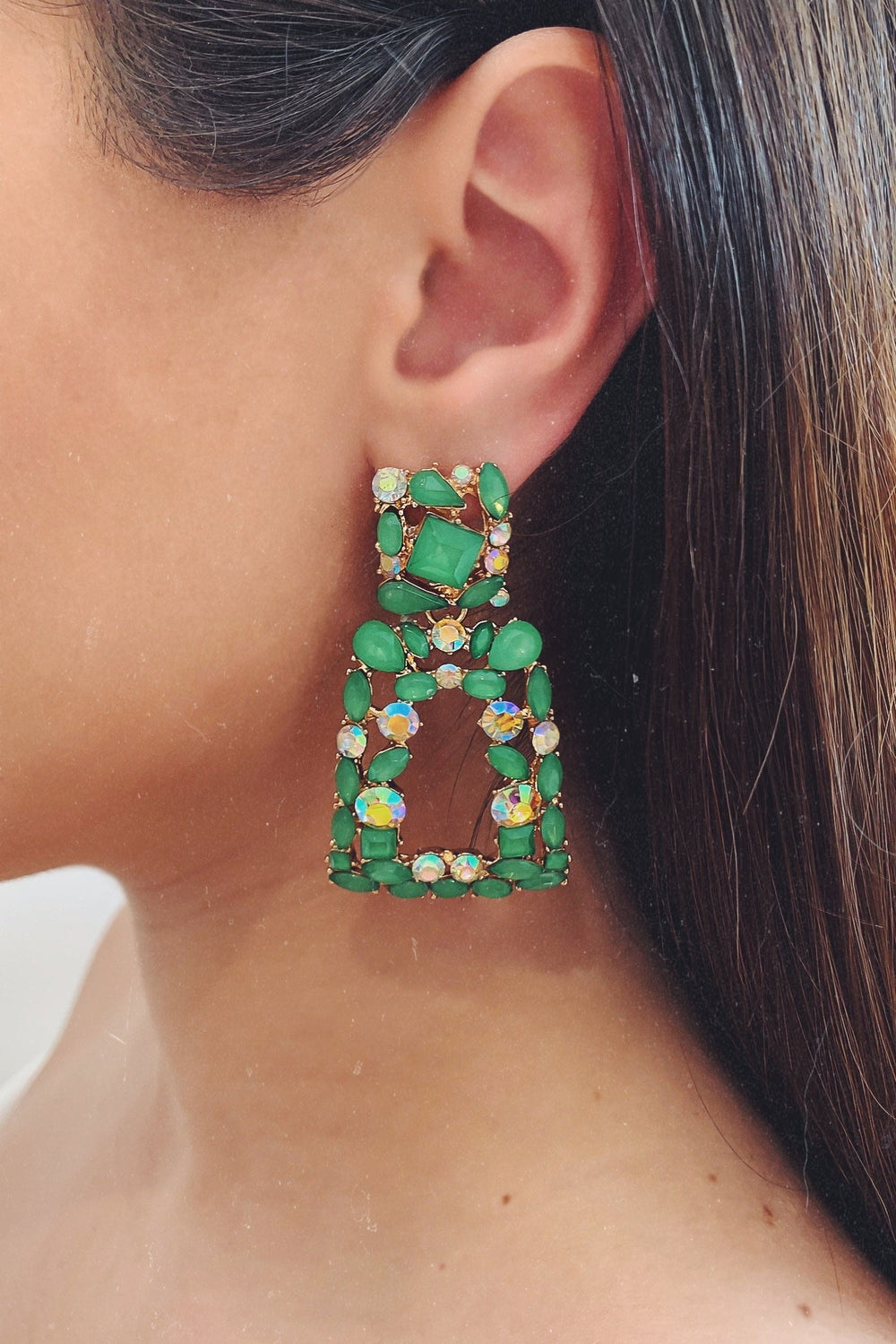 Glazori Caroline Drop Earrings with Green Crystals