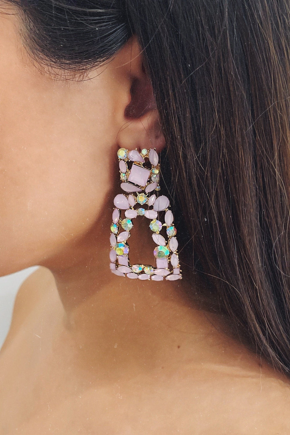 Glazori Caroline Drop Earrings with Pink Crystals