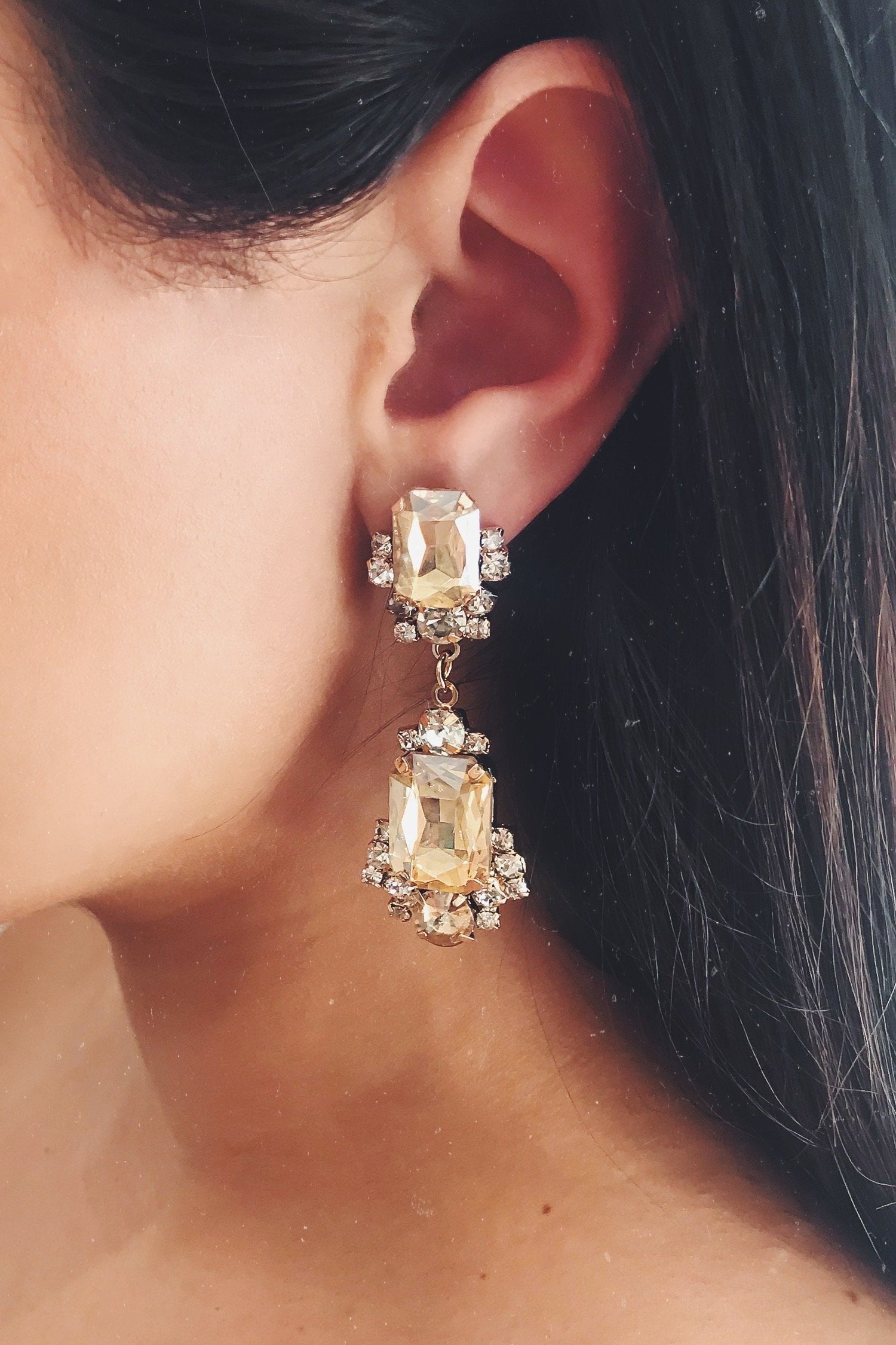 Glazori Cassie Gold Crystal Earrings