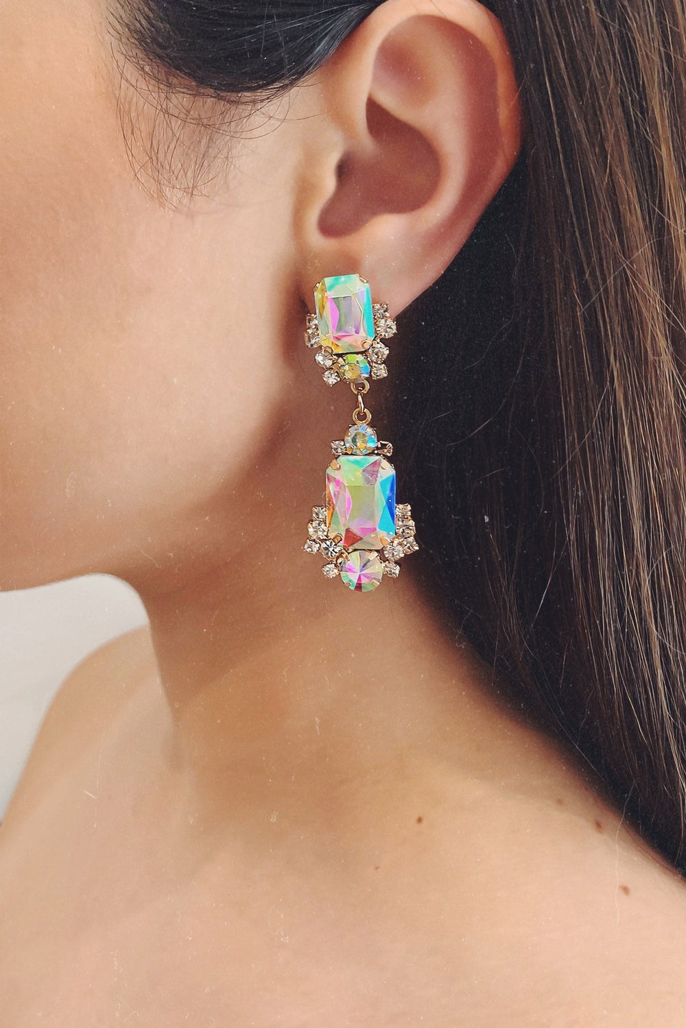 Glazori Cassie Iridescence Crystal Earrings