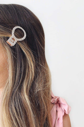 Rose Gold Crystal Circle Hair Clip