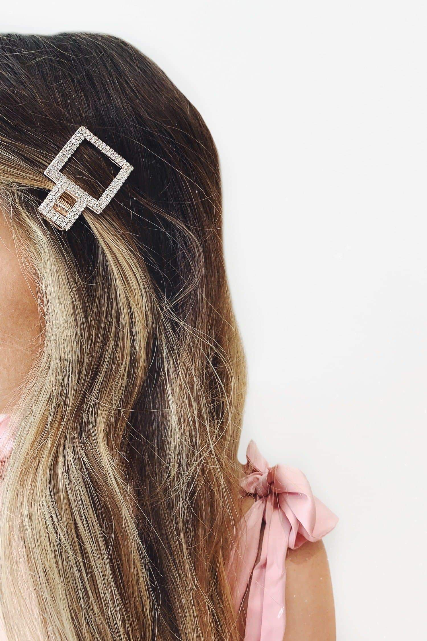 Rose Gold Crystal Square Hair Clip