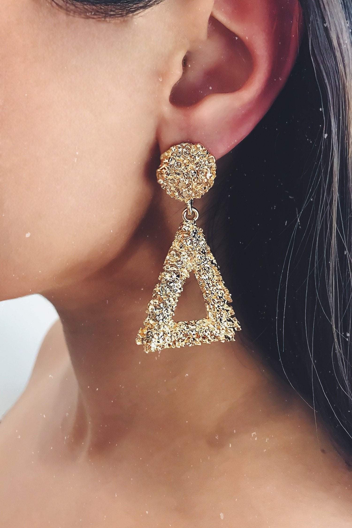 Glazori Daina Gold Textured Triangle Drop Earrings