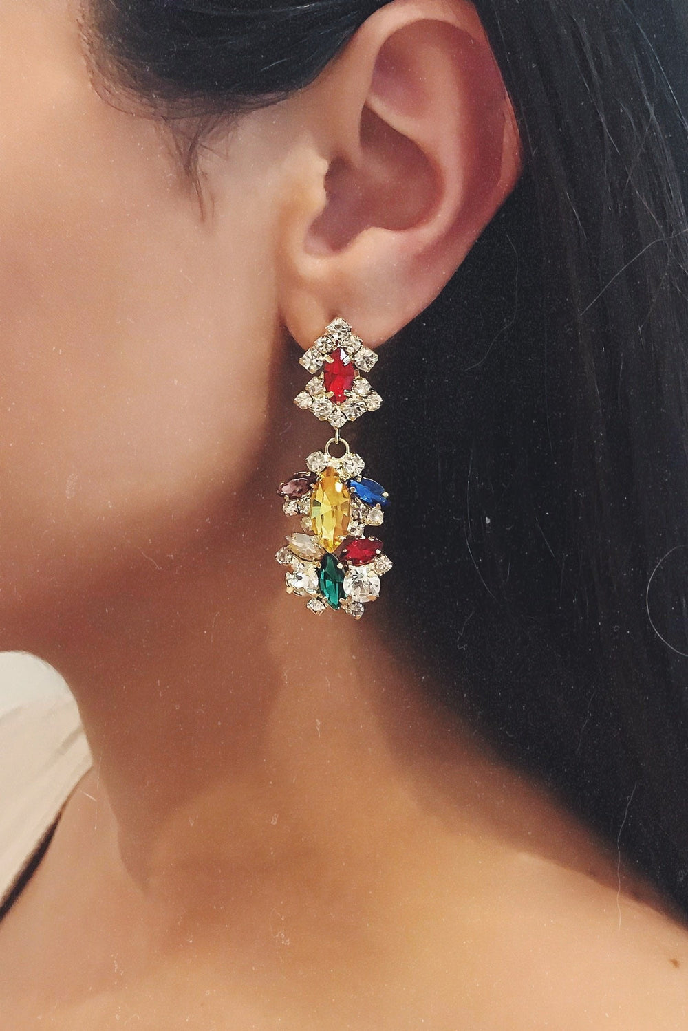 Glazori Elsa Multi Crystal Earrings