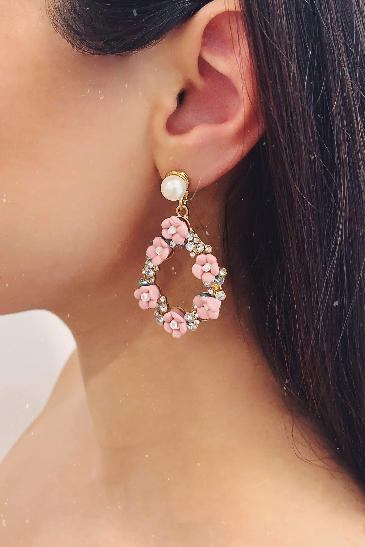 Glazori Evie Gold Pink Flower Teardrop Earrings with Crystals