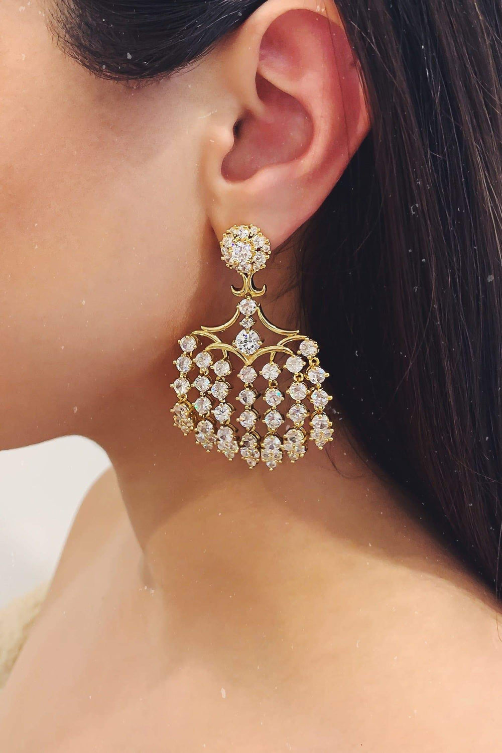 Glazori Frida Gold Chandelier Drop Earrings