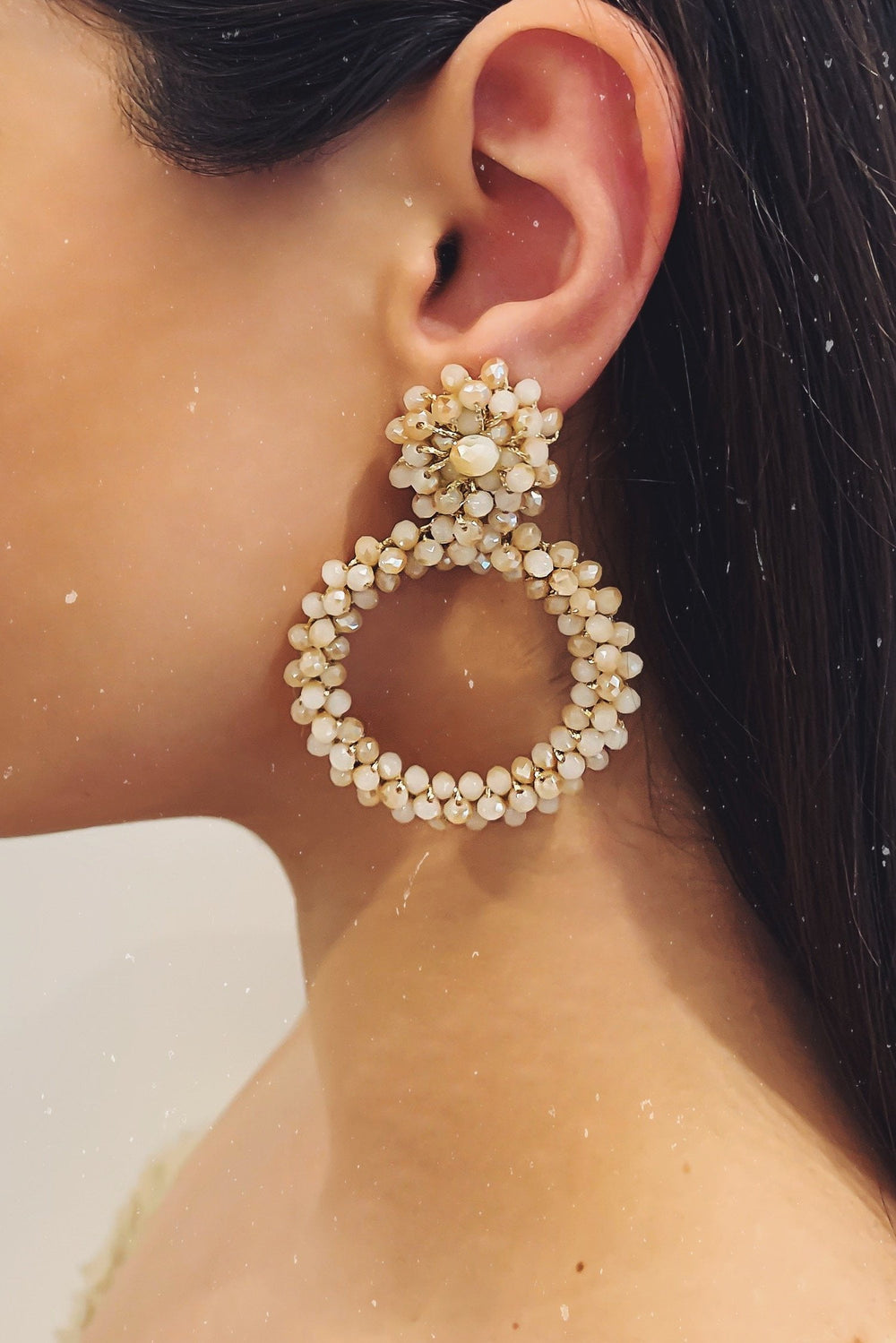 Glazori Hailey Beige Crystal Drop Earrings