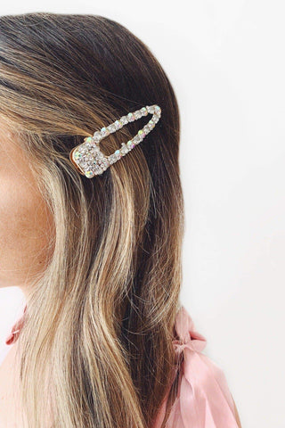 Iridescent Crystal Stone Large Hair Clip