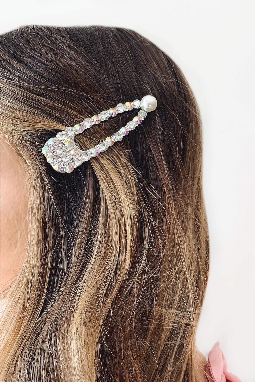 Iridescent Crystal Stone Large Hair Clip with Pearl Detailing