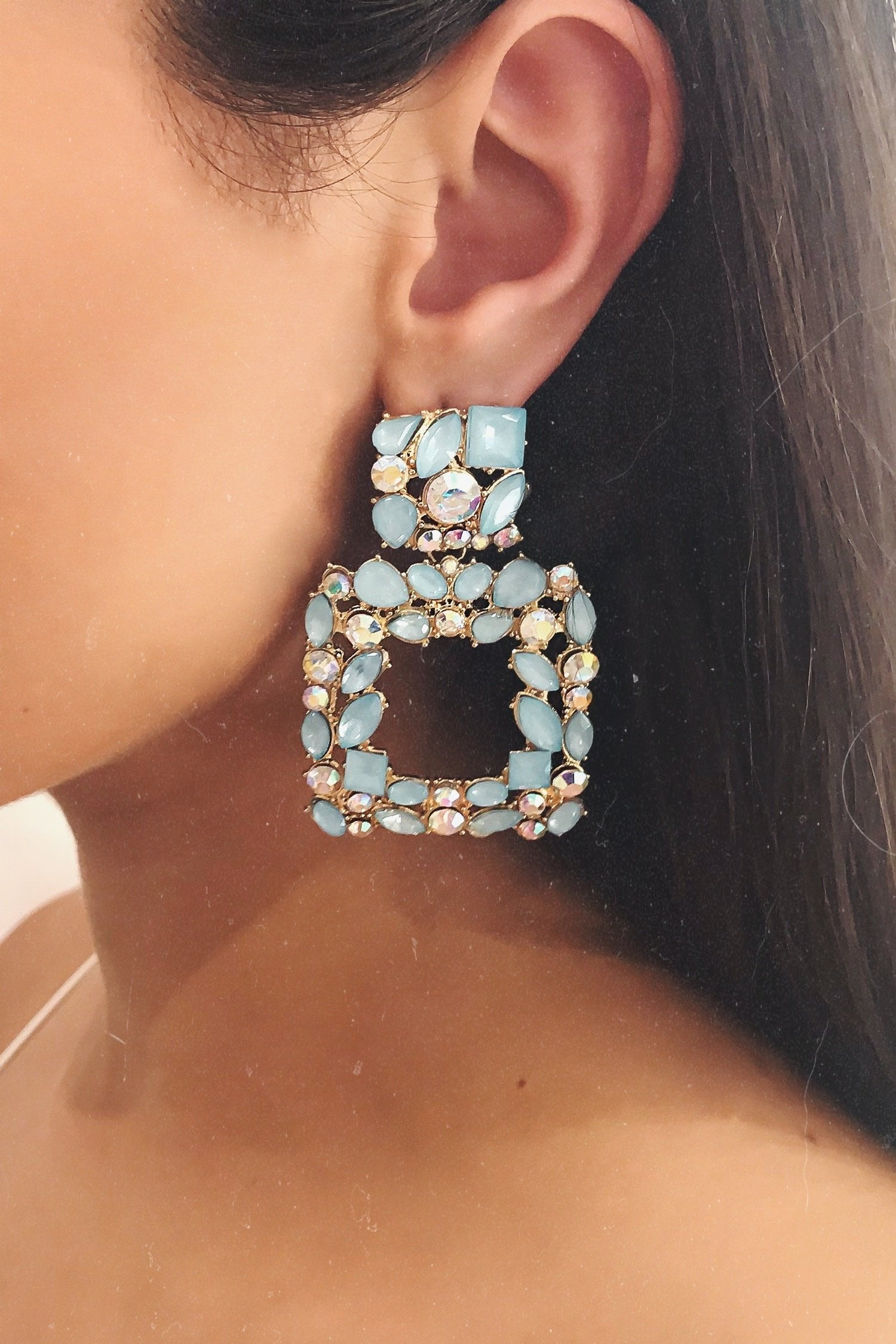 Glazori Isabella Blue Crystal Statement Earrings