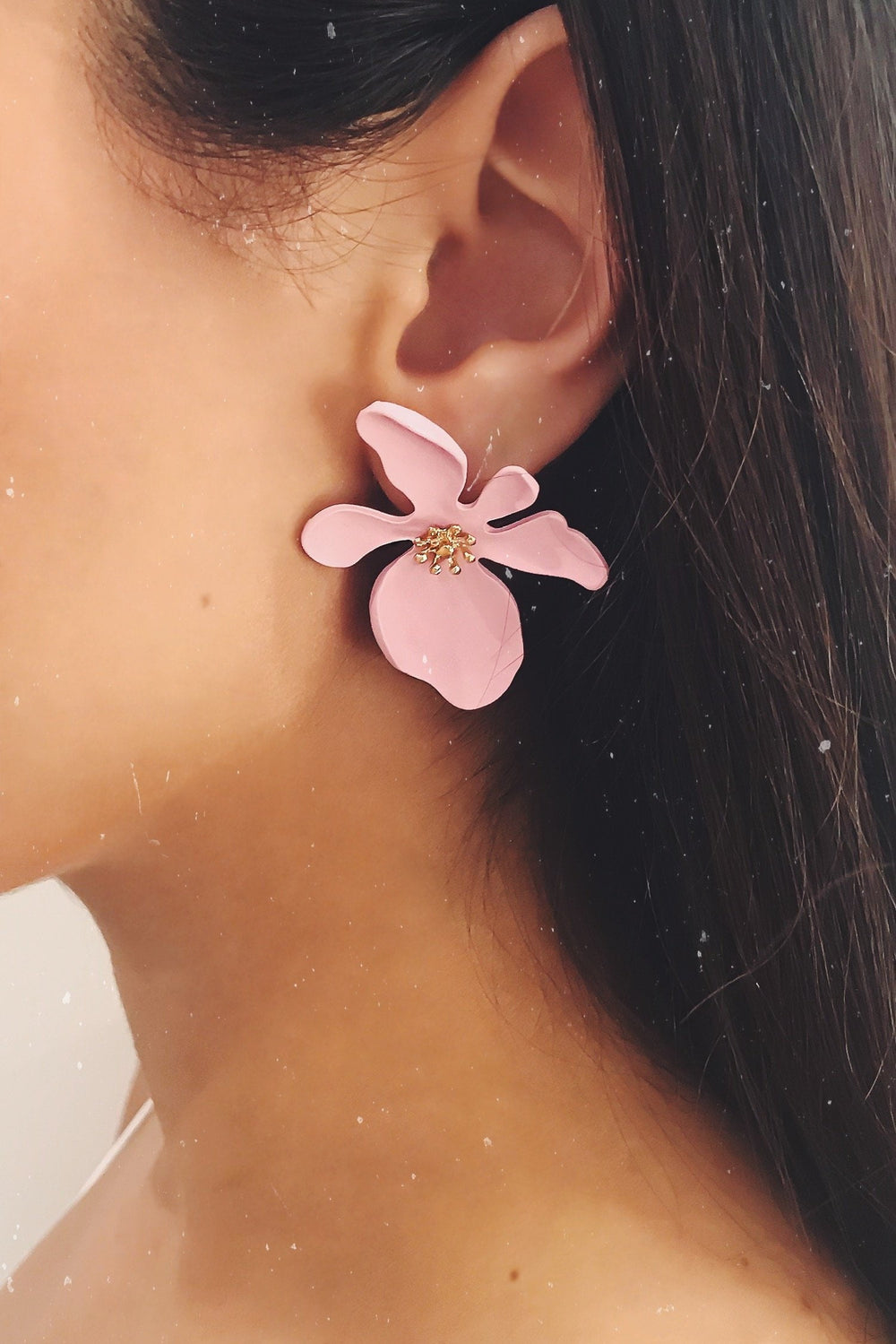 Glazori Ivanna Pink Flower Earrings