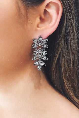 Glazori Ivelina Silver Drop Earrings with Crystals