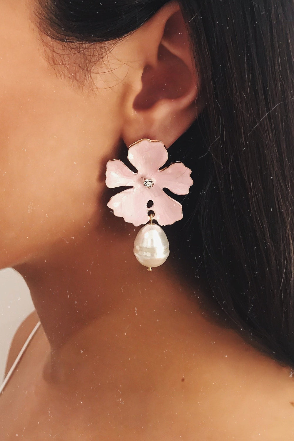 Glazori Jade Pink Flower Earrings