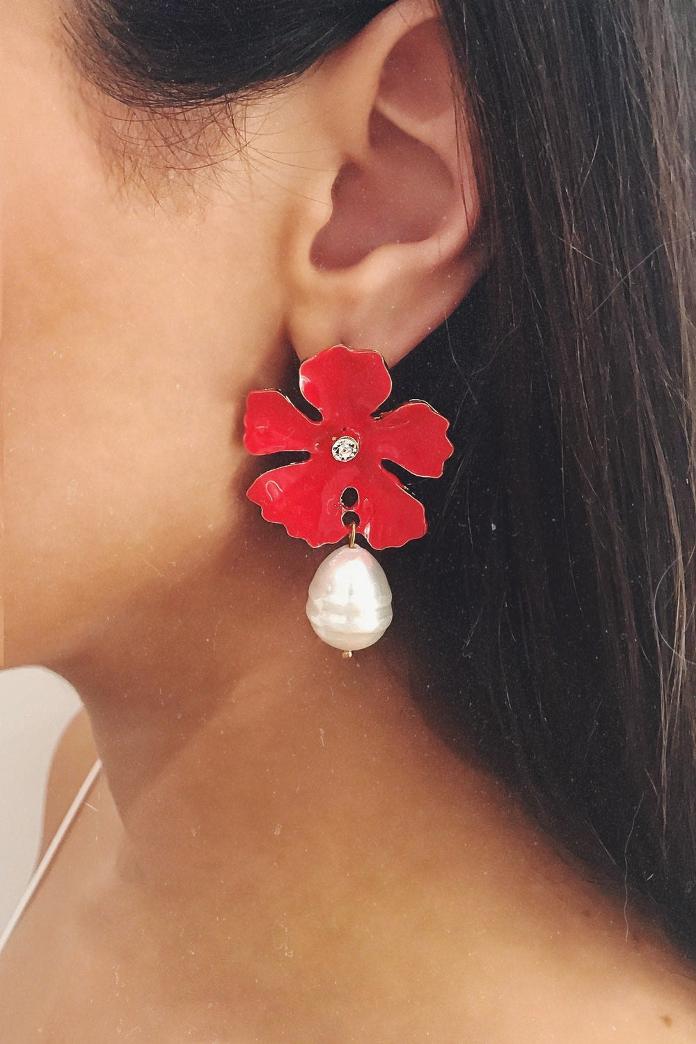 Glazori Jade Red Flower Earrings