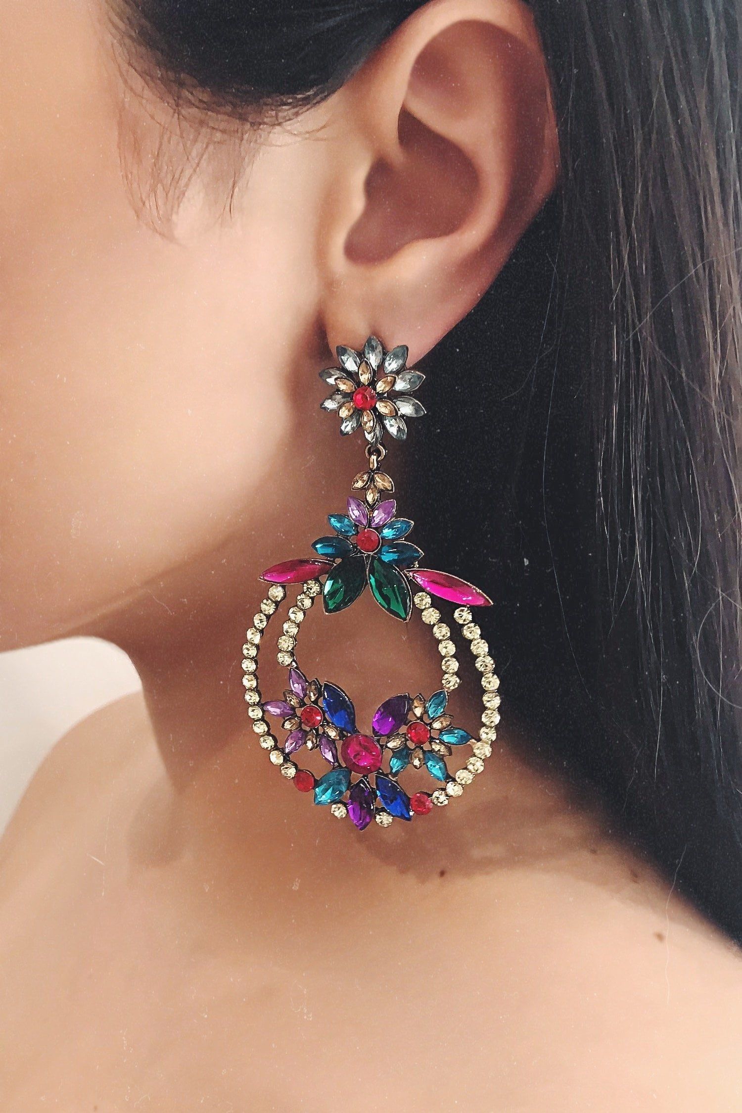 Glazori Kendall Multi Coloured Gem Drop Earrings