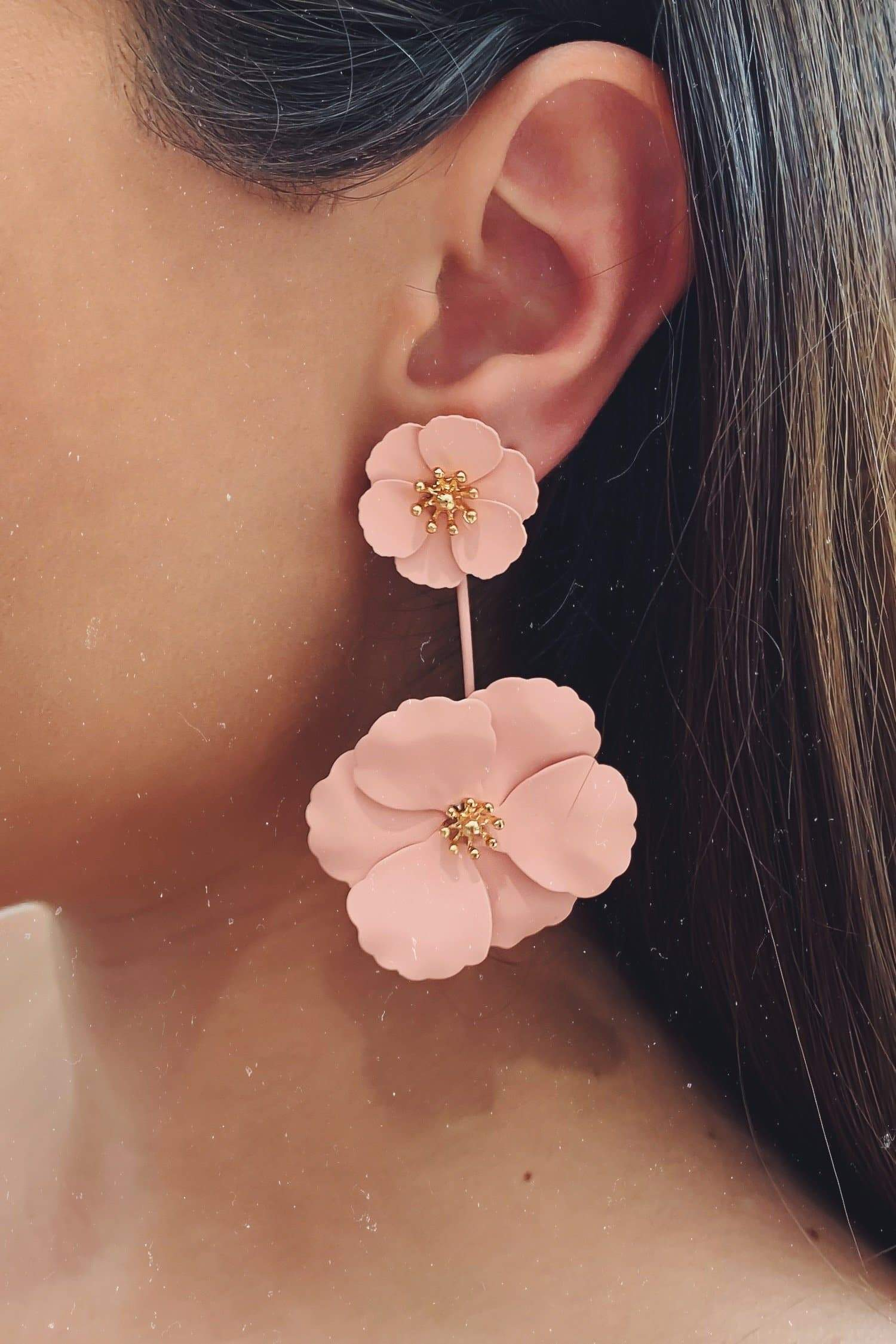 Glazori Lea Pink Flower Drop Earrings