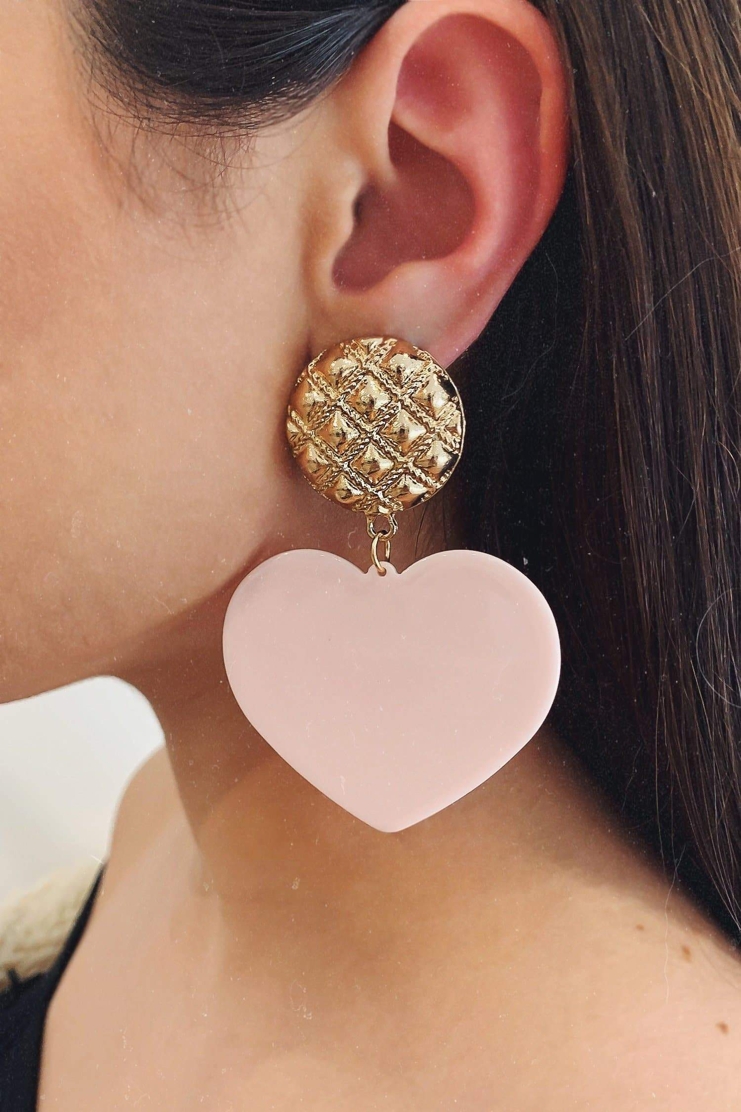 Glazori Marinela Gold Pink Heart Drop Earrings