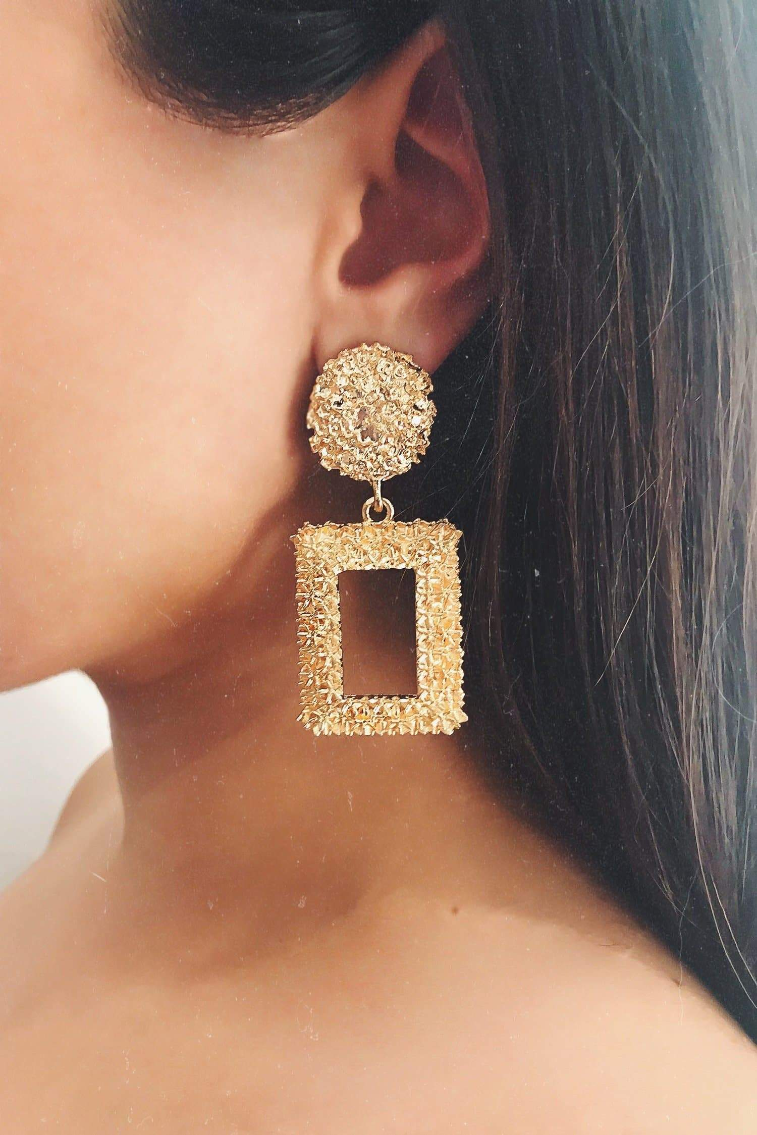 Glazori Selena Gold Textured Rectangle Drop Earrings