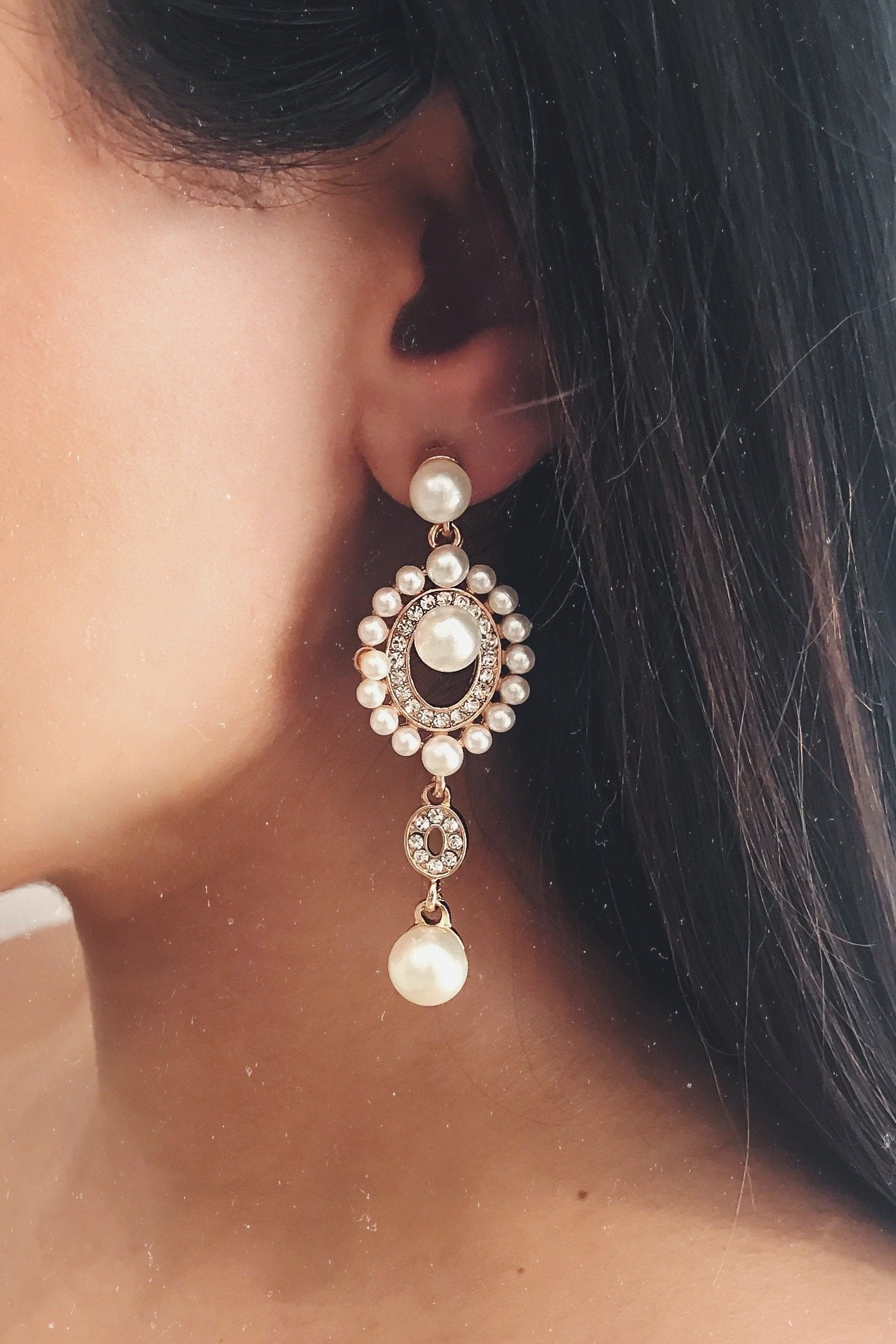 Glazori Laila Gold Pearl Drop Earrings