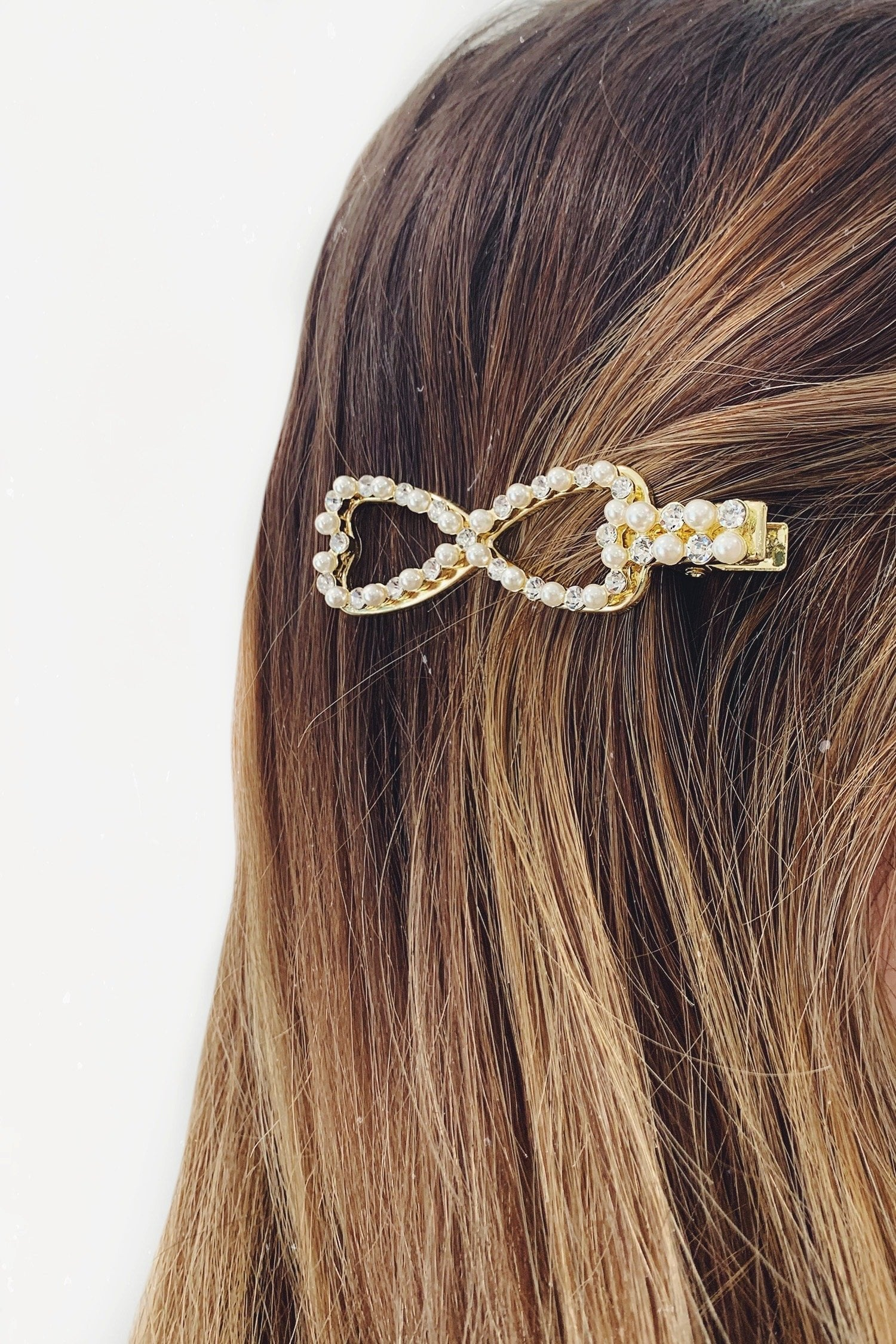 Gold Pearl Diamante Bow Hair Clip