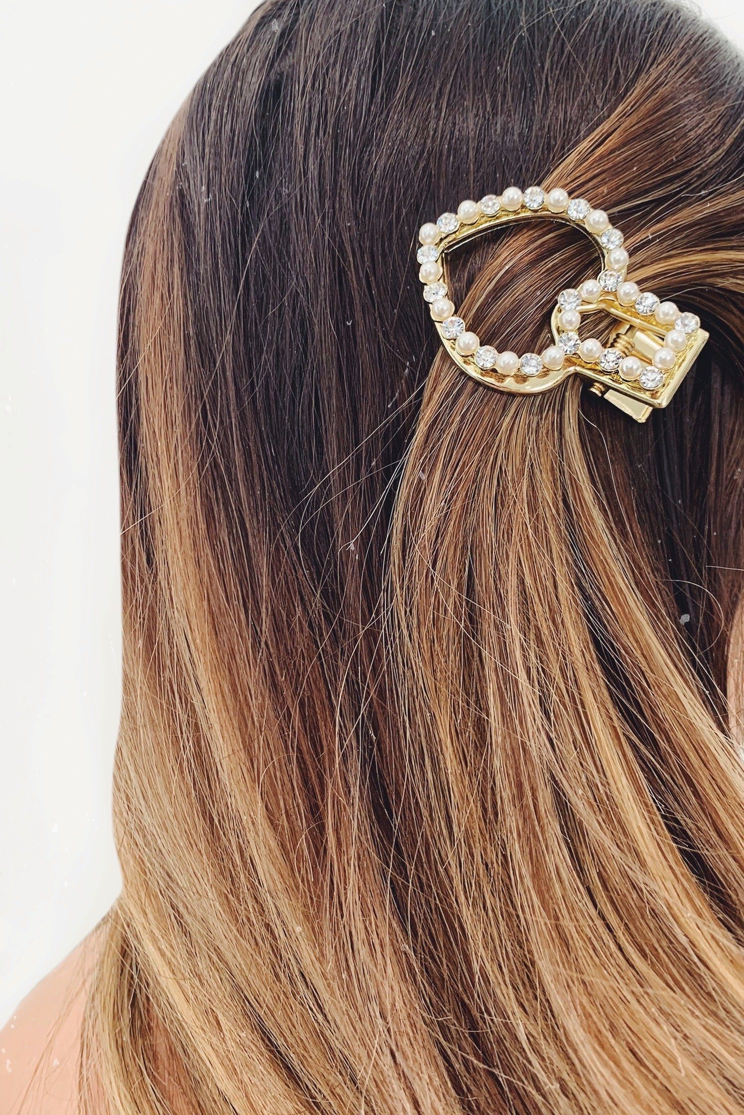 Gold Pearl Diamante Heart Hair Clip