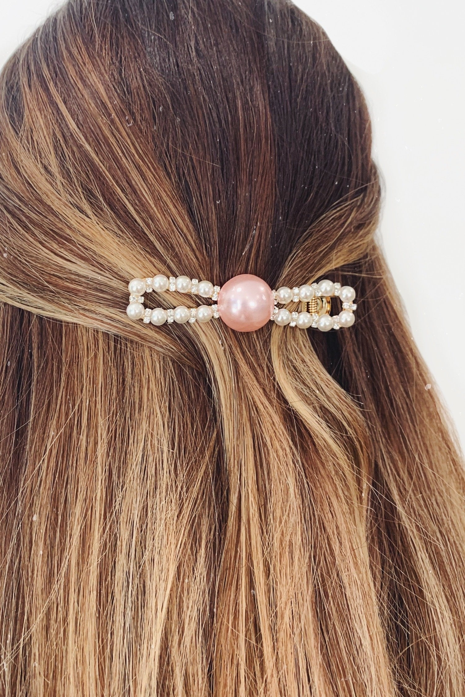 Gold Pearl Dimante Pink Large Hair Clip